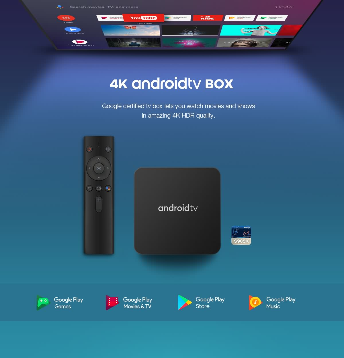 Pure OTT androidtv™ 9.0/10.0 OTT Box with Google certificate based on Amlogic S905X chipset 8