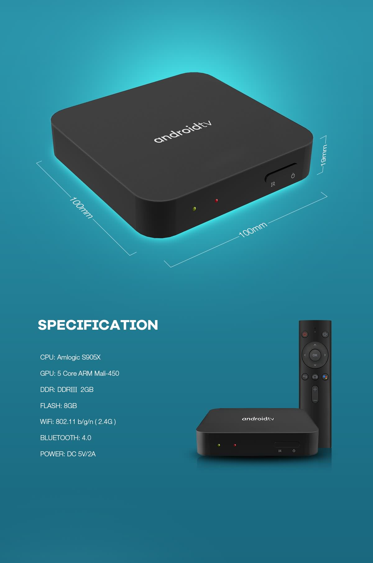 Pure OTT androidtv™ 9.0/10.0 OTT Box with Google certificate based on Amlogic S905X chipset 9